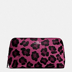 COACH COSMETIC CASE 22 IN OCELOT PRINT COATED CANVAS - SILVER/CRANBERRY - F64242