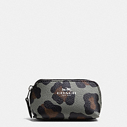 COSMETIC CASE 9 IN OCELOT PRINT HAIRCALF - SILVER/GREY MULTI - COACH F64243