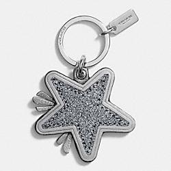 COACH STAR CANYON GLITTER KEY FRING - SILVER/GUNMETAL - F64350