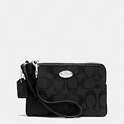 COACH CORNER ZIP IN SIGNATURE - SILVER/BLACK/BLACK - F64375