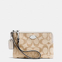 COACH CORNER ZIP IN SIGNATURE - SILVER/LIGHT KHAKI/CHALK - F64375