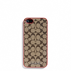 SIGNATURE IPHONE 5 CASE - KHAKI/VERMILLION - COACH F64397