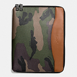 TECH CASE IN CAMO PRINT COATED CANVAS - f64427 - GREEN CAMO