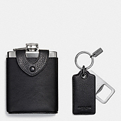 FLASK AND BOTTLE OPENER GIFT BOX - BLACK - COACH F64429