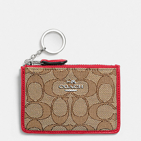 COACH MINI SKINNY ID CASE IN SIGNATURE - SILVER/KHAKI/TRUE RED - f64435