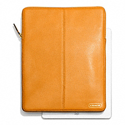 PARK LEATHER NORTH/SOUTH TABLET SLEEVE - f64437 - BRASS/ORANGE SPICE