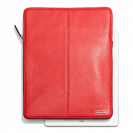 COACH PARK LEATHER NORTH/SOUTH TABLET SLEEVE - SILVER/VERMILLION - f64437