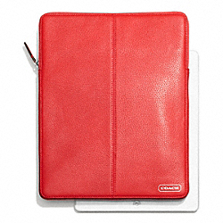 PARK LEATHER NORTH/SOUTH TABLET SLEEVE - SILVER/VERMILLION - COACH F64437