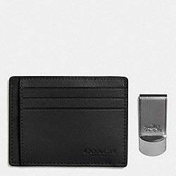 ID CARD CASE AND MONEY CLIP GIFT BOX - BLACK - COACH F64453