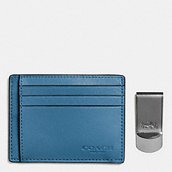 ID CARD CASE AND MONEY CLIP GIFT BOX - SLATE - COACH F64453