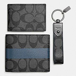 COACH COMPACT ID WALLET GIFT BOX - CHARCOAL/SLATE - F64454