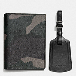 COACH PASSPORT CASE AND LUGGAGE TAG IN CAMO PRINT COATED CANVAS - GREY CAMO - F64482