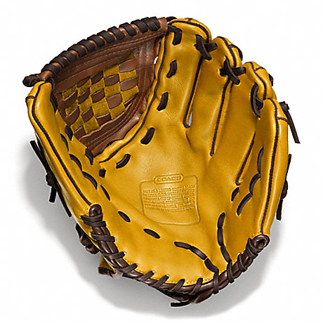 COACH HERITAGE BASEBALL LEATHER COLORBLOCKED GLOVE - SQUASH/FAWN - f64496