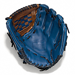 COACH HERITAGE BASEBALL LEATHER COLORBLOCKED GLOVE - VINTAGE ROYAL/FAWN - F64496