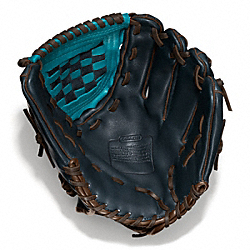 COACH HERITAGE BASEBALL LEATHER COLORBLOCKED GLOVE - NAVY/TURQUOISE - F64496