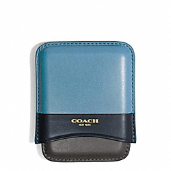 COACH BLEECKER COLORBLOCK LEATHER MOLDED CARD CASE - CADET/DARK ROYAL - F64542