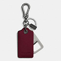 BOTTLE OPENER KEY RING - BURGUNDY - COACH F64577