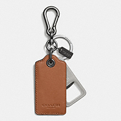 BOTTLE OPENER KEY RING - SADDLE - COACH F64577