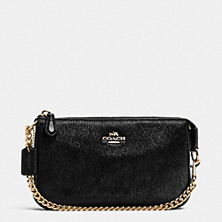 COACH LARGE WRISTLET 19 IN HAIRCALF - IMITATION GOLD/BLACK - F64583