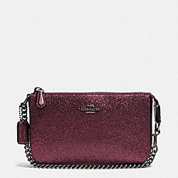 COACH LARGE WRISTLET 19 IN GLITTER FABRIC - ANTIQUE NICKEL/METALLIC CHERRY - F64591