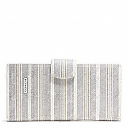 COACH WEEKEND TICKING STRIPE TRAVEL WALLET - SILVER/WHITE BLACK MULTI - F64628