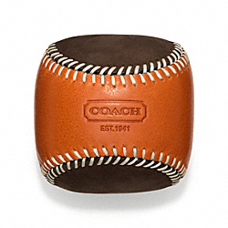 BLEECKER LEATHER SUEDE BASEBALL PAPERWEIGHT COACH F64677