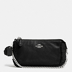 COACH LARGE WRISTLET 19 IN LEATHER AND SHEARLING - SILVER/BLACK/BLACK - F64705