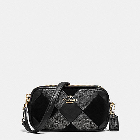 COACH CROSSBODY POUCH IN PATCHWORK LEATHER - LIGHT GOLD/BLACK - f64734