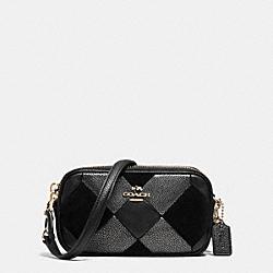 CROSSBODY POUCH IN PATCHWORK LEATHER - f64734 - LIGHT GOLD/BLACK