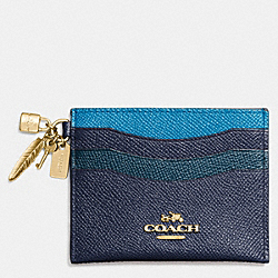 COACH CHARM FLAT CARD CASE IN COLORBLOCK LEATHER - LIGHT GOLD/NAVY/PEACOCK - F64747