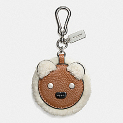 FURRY BEAR KEY RING - SILVER/MULTICOLOR - COACH F64749