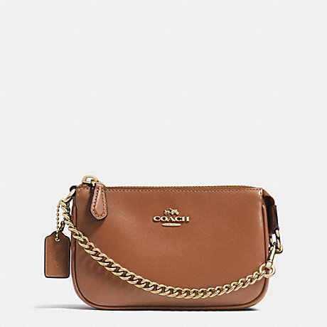 COACH f64791 NOLITA WRISTLET 15 IN LEATHER LIGHT GOLD/SADDLE