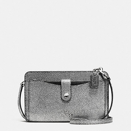 COACH MESSENGER WITH POP-UP POUCH IN COLORBLOCK LEATHER - SILVER/SILVER/BLACK - f64798