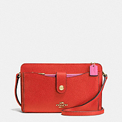 MESSENGER WITH POP-UP POUCH IN COLORBLOCK LEATHER - f64798 - SILVER/CARMINE/DAHLIA