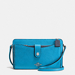 MESSENGER WITH POP-UP POUCH IN COLORBLOCK LEATHER - f64798 - SILVER/AZURE/NAVY