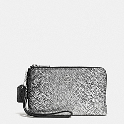 COACH DOUBLE CORNER ZIP WRISTLET IN COLORBLOCK LEATHER - SILVER/SILVER/BLACK - F64799
