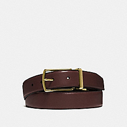 MODERN HARNESS CUT-TO-SIZE REVERSIBLE SMOOTH LEATHER BELT - f64824 - DARK BROWN/BLACK