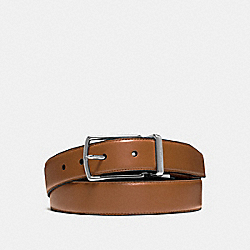MODERN HARNESS CUT-TO-SIZE REVERSIBLE SMOOTH LEATHER BELT - f64824 - DARK SADDLE/DARK BROWN