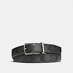 MODERN HARNESS CUT-TO-SIZE REVERSIBLE SIGNATURE COATED CANVAS BELT - CHARCOAL/BLACK - COACH F64825
