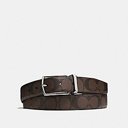 MODERN HARNESS CUT-TO-SIZE REVERSIBLE SIGNATURE COATED CANVAS BELT - MAHOGANY/BROWN - COACH F64825