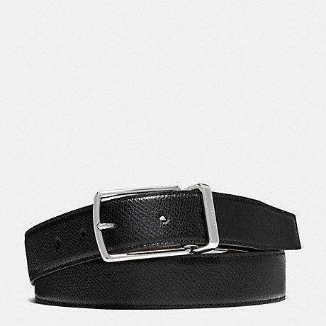 COACH MODERN HARNESS CUT-TO-SIZE REVERSIBLE TEXTURED LEATHER BELT - BLACK/DARK BROWN - f64826