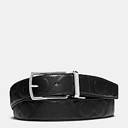 COACH MODERN HARNESS CUT-TO-SIZE REVERSIBLE SIGNATURE LEATHER BELT - BLACK/BLACK - F64827