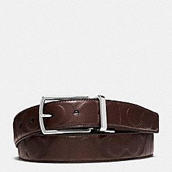 COACH MODERN HARNESS CUT-TO-SIZE REVERSIBLE SIGNATURE LEATHER BELT - DARK BROWN/DARK BROWN - F64827