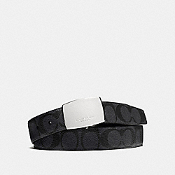 DRESS PLAQUE CUT-TO-SIZE REVERSIBLE SIGNATURE COATED CANVAS BELT - CHARCOAL/BLACK - COACH F64828