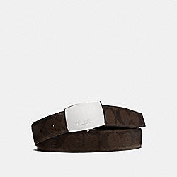 DRESS PLAQUE CUT-TO-SIZE REVERSIBLE SIGNATURE COATED CANVAS BELT - MAHOGANY/BROWN - COACH F64828