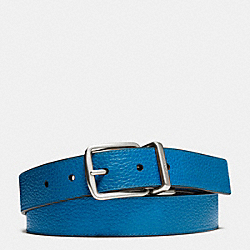 COACH HARNESS CUT-TO-SIZE REVERSIBLE PEBBLE LEATHER BELT - DENIM/BLACK - F64837