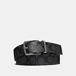 COACH WIDE HARNESS CUT-TO-SIZE REVERSIBLE SIGNATURE COATED CANVAS BELT - CHARCOAL/BLACK - F64839