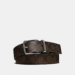 WIDE HARNESS CUT-TO-SIZE REVERSIBLE SIGNATURE COATED CANVAS BELT - MAHOGANY/BROWN - COACH F64839