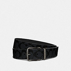 WIDE HARNESS CUT-TO-SIZE REVERSIBLE BELT IN SIGNATURE CANVAS - CHARCOAL/BLUE MULTI/BLACK ANTIQUE NICKEL - COACH F64839