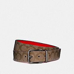 WIDE HARNESS CUT-TO-SIZE REVERSIBLE BELT IN SIGNATURE CANVAS - TAN/VINTAGE RED/BLACK ANTIQUE NICKEL - COACH F64839